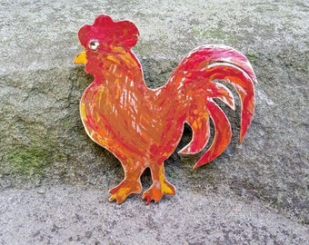 Copper Rooster Pin//Gifts for Her//Rooster Brooch//Copper Rooster//Unique Rooster Brooch//Rustic Copper Rooster//Brooches//Copper Pins