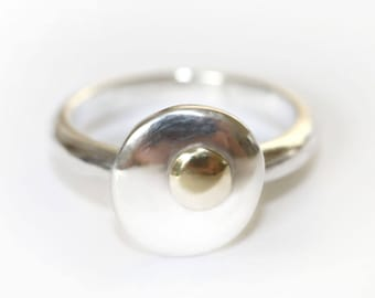 Gold and Silver Ring,  Silver and Gold Ring, Gold Ring, Gold and Silver Jewellery, Rose Gold Ring, Gold Pebble Ring, Silver Pebble ring