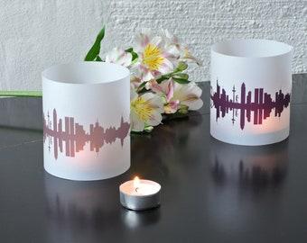 Light Covers FRANKFURT Skyline City Light Luminary, 2 FRANKFURT Tablelight in fume plum, Gift FRANKFURT Lovers, Wedding Decor Candle Light