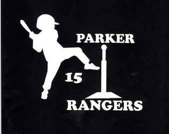 Baseball batter t ball car/truck decal sticker  296-
