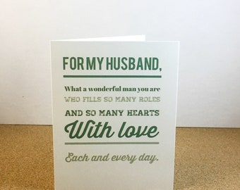 Husband on Fathers Day, Husband Birthday, For Him, Just Because Card - Digital Download or Print