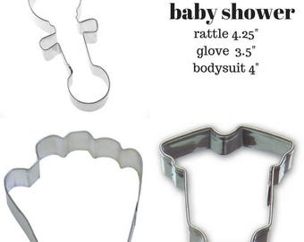 Baseball BABY SHOWER Cookie Cutters set of 3/ one piece tshirt, rattle,baseball glove, sports baby shower,