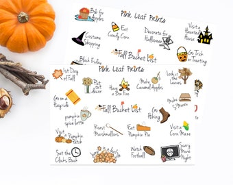 Fall Bucket List Doodles Planner Stickers