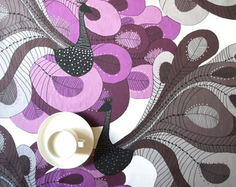 Tablecloth white with purple pale lilac gray black abstract peacock Scandinavian Design , runner , napkins , curtains , pillows , great GIFT