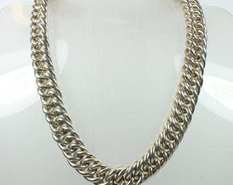 Minimalist Thick Silver Curb Chain Necklace