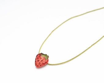 Strawberry Pendant, tiny strawberry necklace, fruit pendant, summer necklace, strawberries, minimal pendant necklace