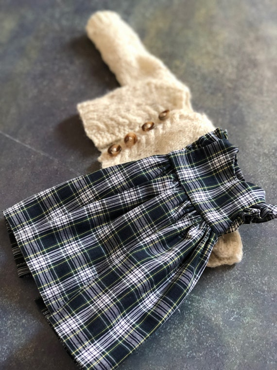 Dress and sweater set for small rag doll