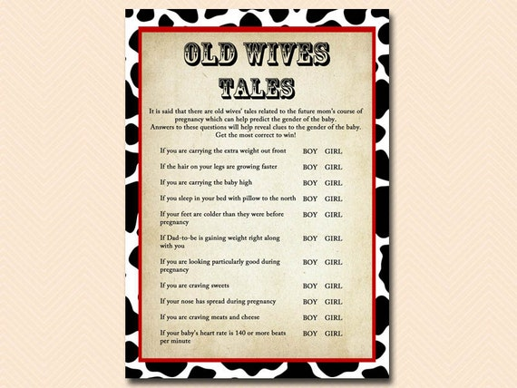 Old wives tales predicting the sex of a baby