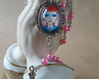 Big Eye Bowie Rosary Pink Beads