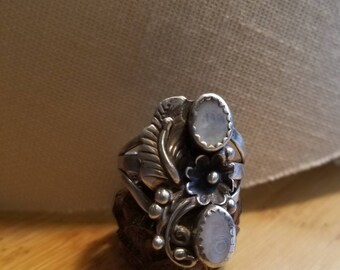 Orange floral and MOP sterling ring, size 7. Boho style