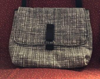 Black tweed look messenger bag