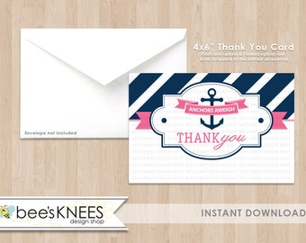 Nautical Baby Shower 4x6 foldable Thank You Card Instant Download