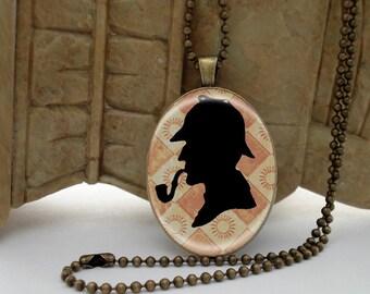 Sherlock Holmes BRASS Setting Necklace Pendant