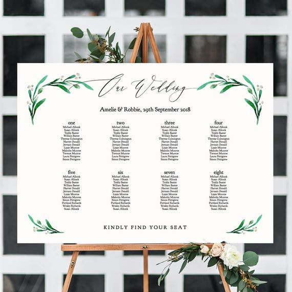"""Wedding table seating chart Greenery wedding table plan PDF templates A1, A2, 18x24"""" and 24x36"""" sizes """"Wedding Greenery"""" Edit in ACROBAT"""