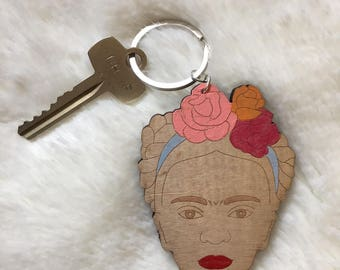 Frida Wood Keychain