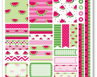 Watermelon Decorating Kit / Weekly Spread Planner Stickers for Erin Condren Planner, Filofax, Plum Paper