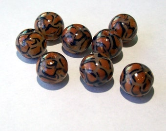 NOW ON SALE Animal Print Beads - Handmade from Polymer Clay - Small Round