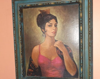Kitsch Spanish Contessa Framed Thrift Store Art Print JH Lynch Style Retro Mod Decor