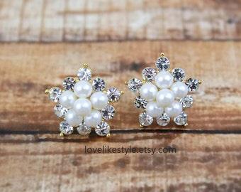 Ivory Pearl and Rhinestone Studs Earrings, Peacl Cluster Studs Earrings, Bridal Pearl Earrings, Bridesmaid Pearl Earrings,Style No. 6022