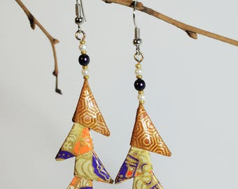 """Origami earrings """"Triangle Brown, plum and cream"""""""