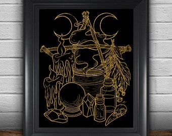 Golden Witch's Altar Line Art Print, Wall Art, Home Decor, Matte Print, 8.5 in x 11 in