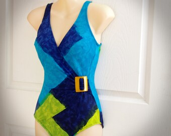70s Swimsuit * Green and Blue Swimsuit * Vintage Womens Swimsuit * 70s Swimwear * Blue One Piece Bathing Suit