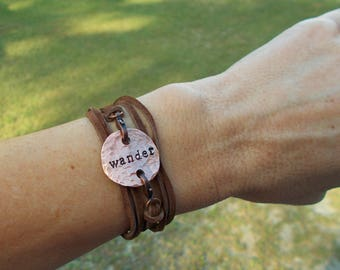 Hand Stamped Lucky Copper Penny Wrap Bracelet Up-cycled Jewelry Choose Your Word Comes with 2 interchangeable Charms