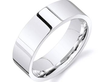 14k White Gold Band (7mm) / PLAIN / Polished Flat + Comfort Fit / Men's Women's Wedding Ring