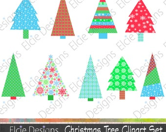 Christmas Tree Clipart Set - Instant Download