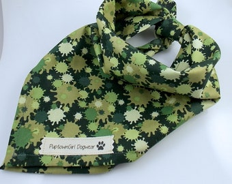 Dog Bandanas Camouflage Bandana Dog Bandana Paint Ball Bandana Green Bandana for Dogs Pet Accessory Tie On Bandana