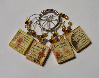 Fun Anthropomorphic Images With Sayings on 4 Wine Charms - Vintage Scrabble Tiles With Bead Accents ~ Set of 4 on Ring Holder