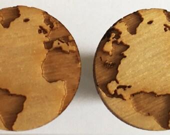 Around the World Wooden Etched OTOGEAR Artisan Earplugs