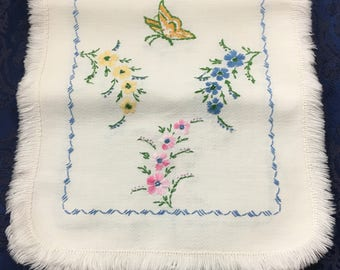 Vintage Linen Hand Embroidered Table Runner with Pastel Flowers and Green and Gold Butterflies 39 x 14  R53