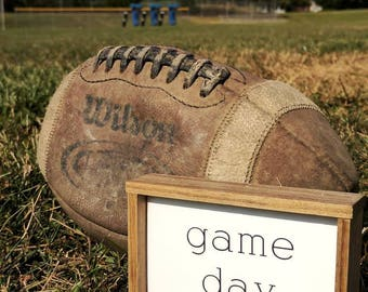 Rustic farmhouse inspired 'game day' framed wooden mini sign
