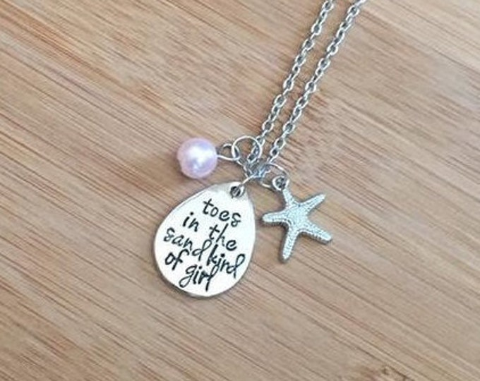 Toes in the sand kind of girl Stamped Necklace beach starfish pink adjustable chain charm summer vacation