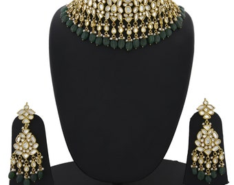 Alyza Pearls kundan bridal choker set  in emerald onyx