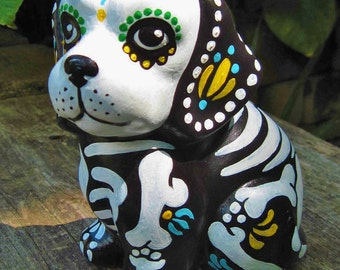 Day of the Dead DOG Statue Skeleton Puppy Figurine Pet Memorial Shrine