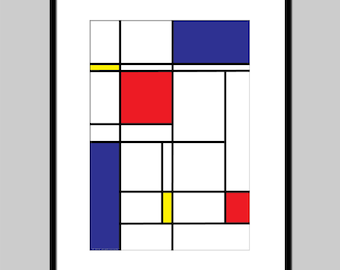 Abstract Art Mondrian Style Art print, wall decor, minimalist poster, geometric print, modern art, abstract composition print color blocks