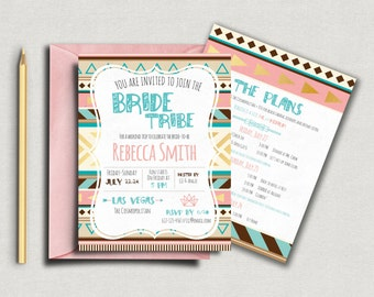 Bride Tribe Bachelorette Invitation - 5x7 Invite. Custom Bachelorette Invite - DIY Printing *DIGITAL FILE*