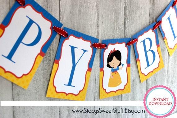 Printable Birthday Banner ~ Snow white banner happy birthday banner snow white party