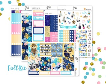 Anchors Away- A LA CARTE Vertical Weekly Kit planner stickers- Travel, Summer, Vacation