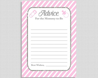 Pink Advice For The Mommy To Be Cards, Pink Stripe Baby Shower Activity, DIY Printable, INSTANT DOWNLOAD