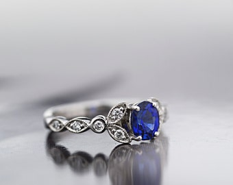 Natural Ceylon Blue Sapphire Ring - Diamond Engagement Ring - Anniversary Ring - 18 ct White Gold-Made to order