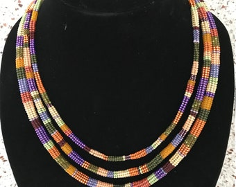 beaded necklace autumn colors three strand herringbone