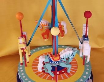 Whimsical Folk Art Carousel, Whimsical Carousel, Merry Go Round, Hand Carved, Hand Painted, Nursery Decor, Kids Room, Home Decor, Whirly Gig