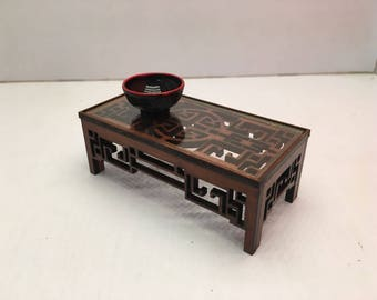 Chinese furniture, engraved low table with glass. Miniature 1/12 scale for dollhouses