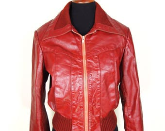 70's Vintage Oxblood Red Leather Bomber Jacket Sz M