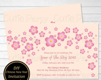Chinese Party Invite Etsy - Dog party invitations template