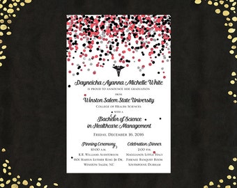 Qty. 25 College Graduation Invitations Announcements Nursing Health Science Bachelor's Degree Confetti Announcements College Graduation