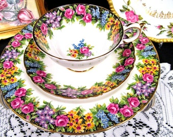 Paragon Tea Cup and Saucer Trio ENGLISH GARDEN ROSE teacup with 8 inch plate